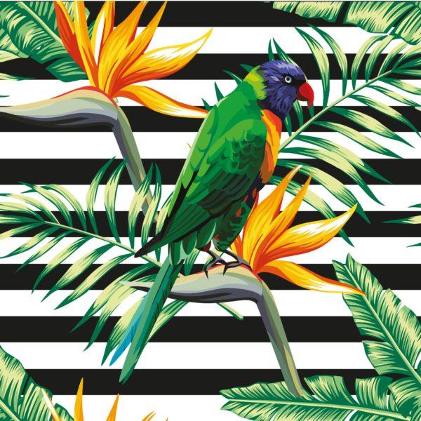 Naklejka Papugi i kwiat egzotyczny. Wzór dostępny również w formie tapety winylowej lub zmywalnej. Cena naklejki 69 zł. www.pixers.pl