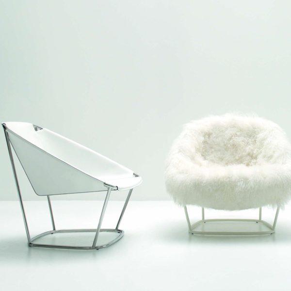 Fotel Katrin ze zdejmowalnym futrzanym obiciem. Projekt Carlo Colombo dla marki Arflex. www.arflex.it