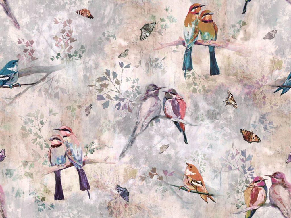 tkaniny w ptaki i motyle